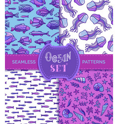 ocean set of seamless underwater patterns vector image