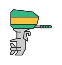 Outboard boat motor color icon vector
