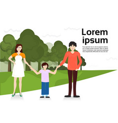 parents with son walking in urban park family over vector image