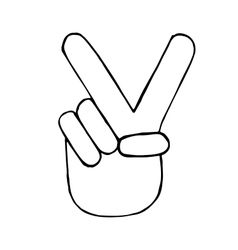 Pencil sketch of hand with victory sign vector