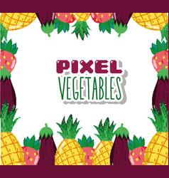 Pixel vegetables cartoons vector