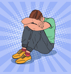 Pop art depressed young man sitting on the floor vector