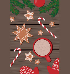 red cup with cappuccino christmas gingerbread vector image
