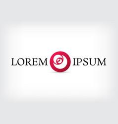 Red rose curve circle logo design template vector