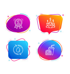 Refill water salary employees and reward icons vector