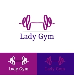 Ribbon dumb-bell lady gym logotype Modern vector