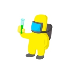 Scientist in protective suit cartoon icon vector image