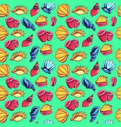 Sea world pattern seamless cartoon style vector