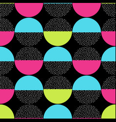 Seamless retro memphis pattern with round vector