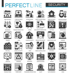 Security and safety black mini concept icons and vector