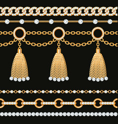 set collection golden metallic chain borders vector image
