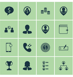 set of 16 hr icons includes messaging job vector image