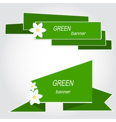Set of green banners with flowers vector