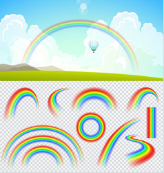 Set of transparent realistic rainbows vector