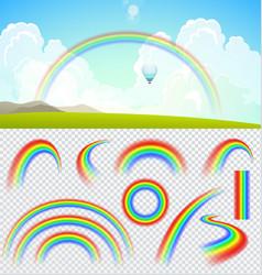 set transparent realistic rainbows vector image