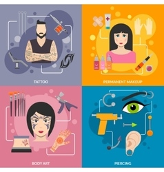 Set with bodyart tattoo piercing process vector