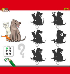 shadow activity game with dog group vector image