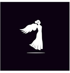 Silhouette beauty woman angel logo design vector