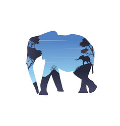 Silhouette of inside elephant on the hill vector