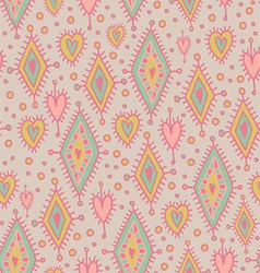 simless pattern with geometric elements and hearts vector image