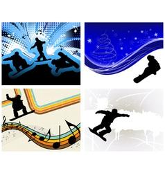 snowboard backgr set vector image vector image