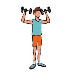 Sport man weight lift fitness active vector