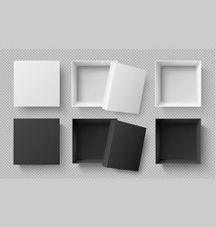 top view white and black boxes realistic 3d vector image