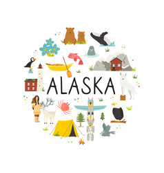 tourist poster with animals landmarks alaska vector image