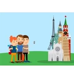 Traveling family make selfie near landmarks vector