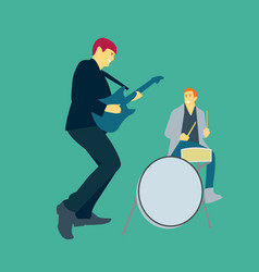 two men playing music with guitars and drums vector image