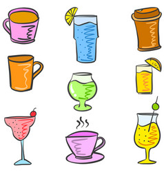 Various style drink set doodles vector