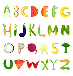 veggie english alphabet letters made from fresh vector image