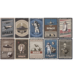 vintage colored space posters vector image
