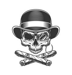 vintage monochrome gentleman skull vector image