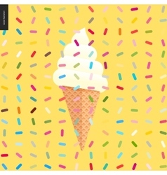 White Ice cream in a cone and pattern vector
