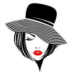 Women short hair with a hat logo women face vector