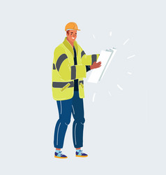 worker man with big plan on white vector image