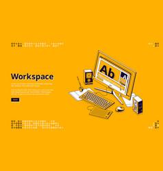 workspace isometric landing page designer office vector image