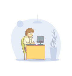 young man working with laptop computer cartoon vector image