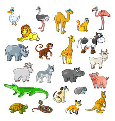 Zoo animals birds and pets cartoon icons vector