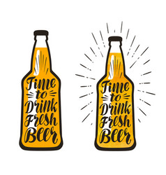 bottle of beer lager time to drink fresh beer vector image