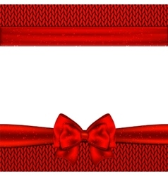 Red bow on red knitted background Design vector image vector image