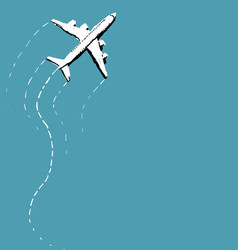 Swerving Airplane Over Blue vector image vector image