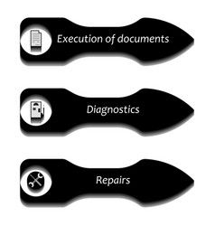 arrows pointers with icons vector image vector image