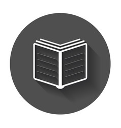 book icon flat education book with long shadow vector image