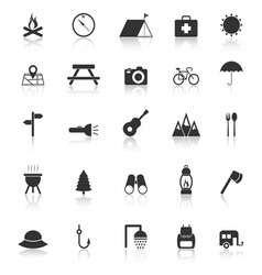 Camping icons with reflect on white background vector image vector image