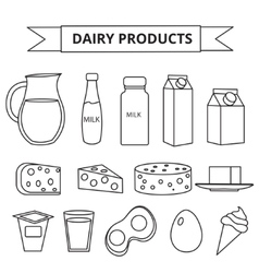 Dairy products icon set Modern line outline vector image