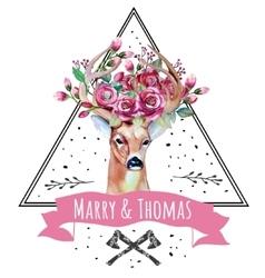 Deer watercolor Save the date eps 10 Wedding vector image vector image