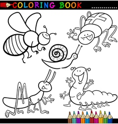 Insects and bugs for Coloring Book or Page vector image