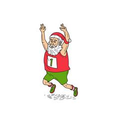 santa claus father christmas running marathon vector image vector image